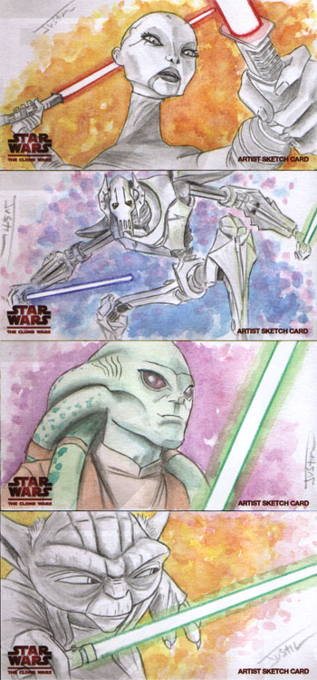 Justin Chung Star Wars Clone Wars Widevision Artist Sketch Cards