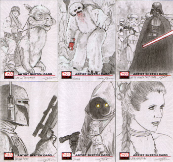 Justin Chung Star Wars Galaxy 4 Sketch Cards