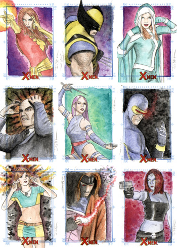 Justin Chung X-Men Archives Sketch Cards
